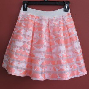 Bebe Floral Sheer Striped Pleated Coral Skirt